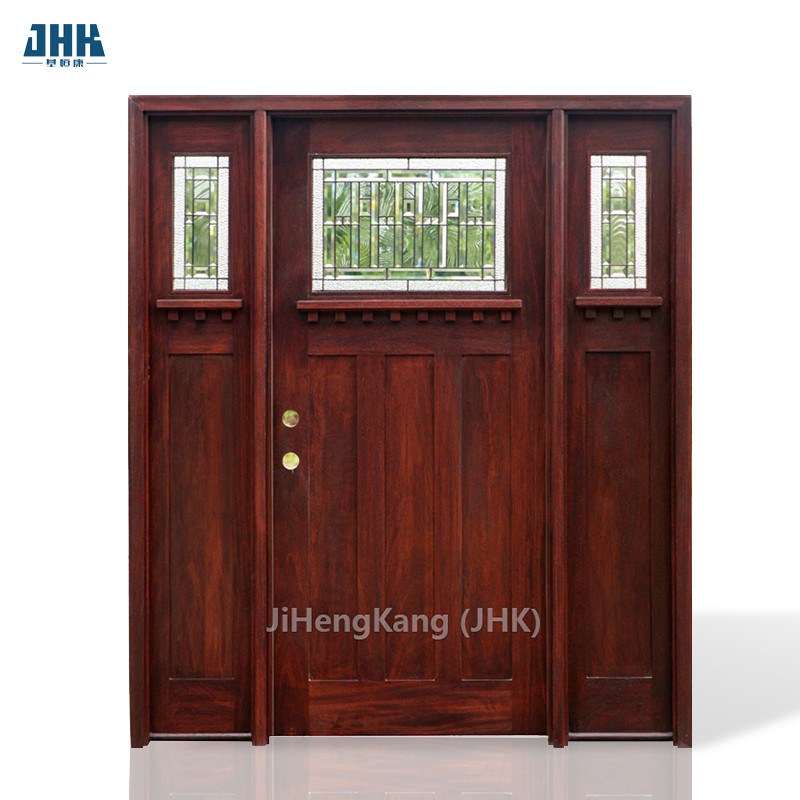 JHK-G32-5 Decorative Painting Double Leaf Mahogany Wooden Entry Door