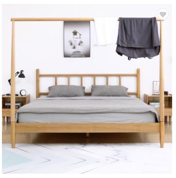 Hot sale bedroom furniture modern solid wood bed white oak creative wooden bed
