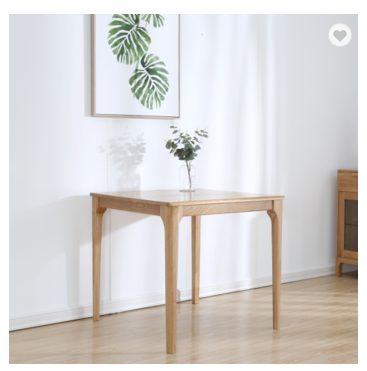 Northern Europe Japanese solid wood dining table white oak modern 80*80 peninsula square table