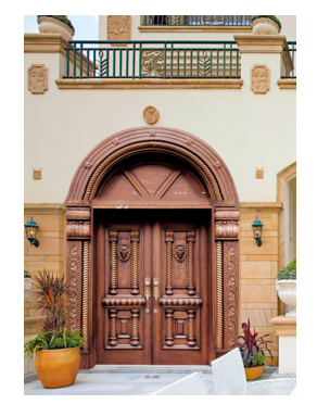 Hot sale with manufacture antique copper main gate double open security door