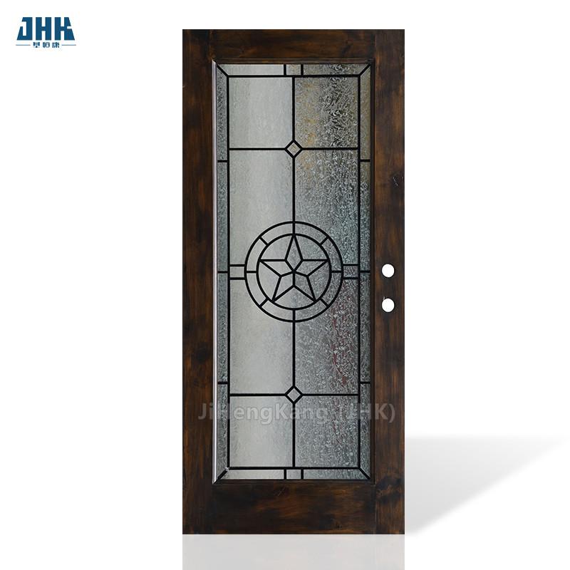 JHK-G16-3 Spanish Interior Doors Moroccan Wood Rosewood Door With Glass Designs