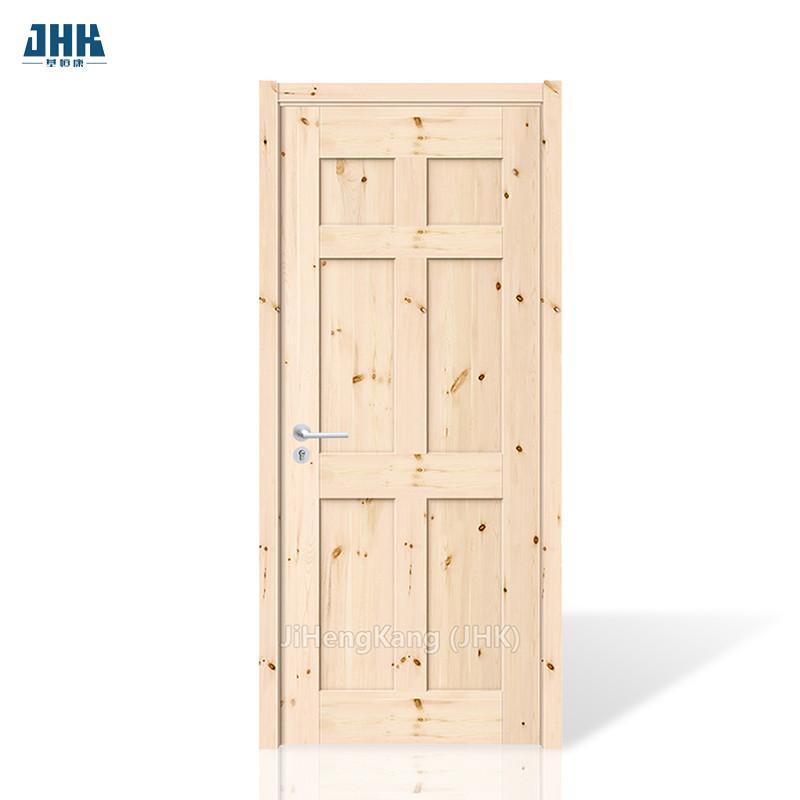 JHK- 006 Wooden Door With Decorative Laminated Pine Wood Blinds Design Drawing Room Door
