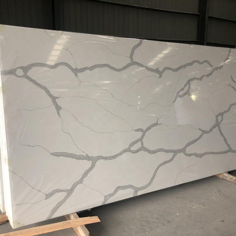 Wholesale price polished snow statuario white quartz stone slab