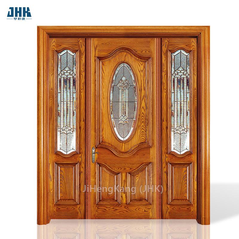 JHK- Luxury Main Door Design Carving Exterior Door Solid Wooden Double Door Designs