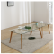 Modern tempered glass tea table red oak table leg a combination of modern small household coffee ta