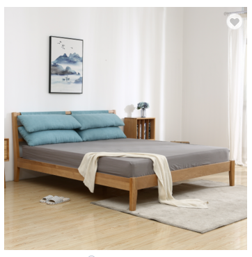 Modern solid wood white oak 1.5M bed minimalism northern europe bed