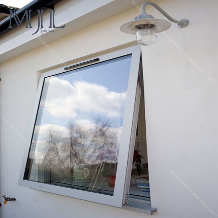 MJL Fast Delivery Cost Price White Frame Powder Coated Aluminium Laminated Glass Awning Window/ Top