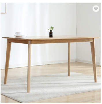 Modern solid wood white oak concise rectangle dining table Europe style straight leg dining table