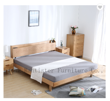 Solid wood bed with a socket modern simple Nordic furniture double bed