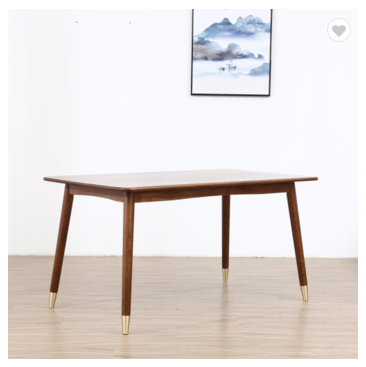 Solid wood simple Nordic style modern copper leg dining table white oak table hotel household dinin