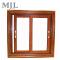 Construction wood grain aluminum window sliding, double panel aluminum glass window