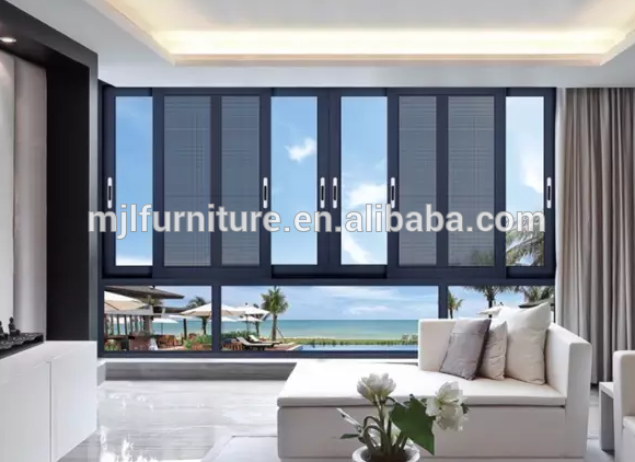 Balcony aluminum glass sliding window with security net.
