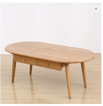 Wood tea table with drawers simple and modern small household solid wood furniture coffee table