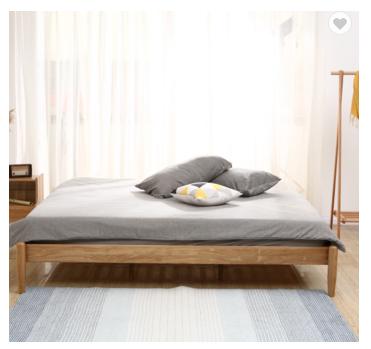 Solid wood tatami modern white oak bed hotel bedroom creative bed