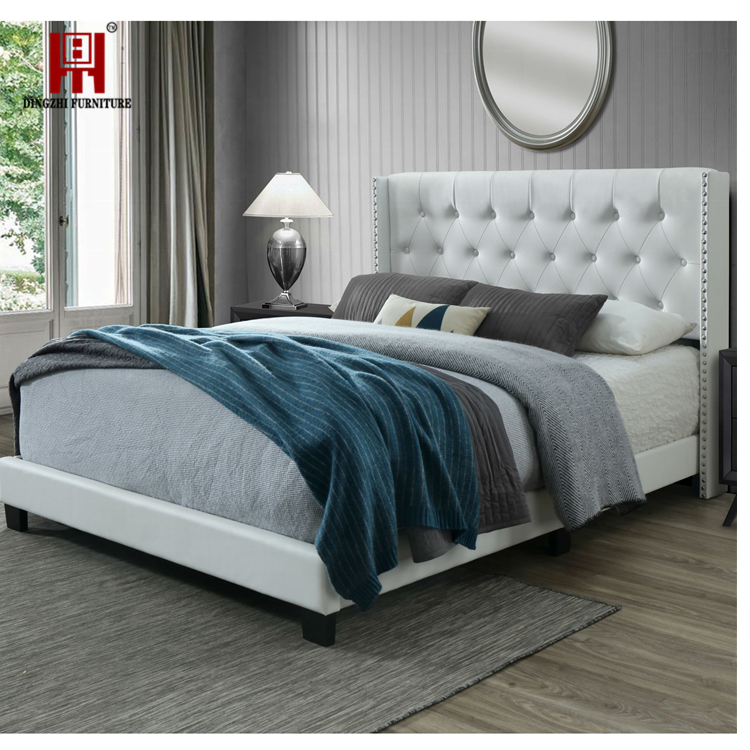 Bedroom furniture White PU leather Bed Queen size  High mattress Low bedside Bed
