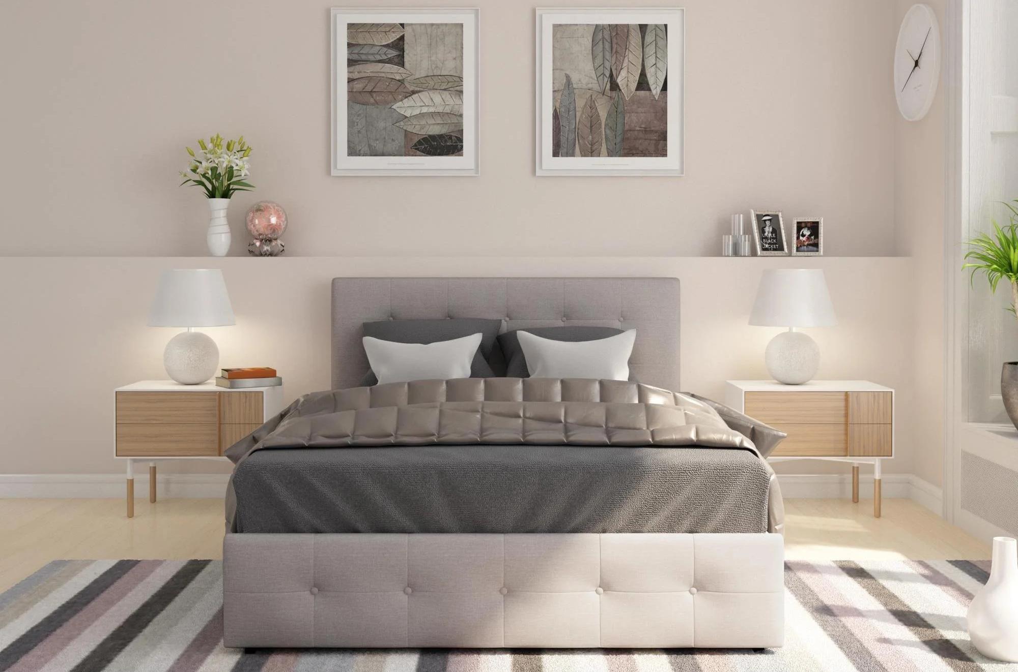 Korean Bedroom Furniture Tufted Upholstered Wood Bed WIth Drawer