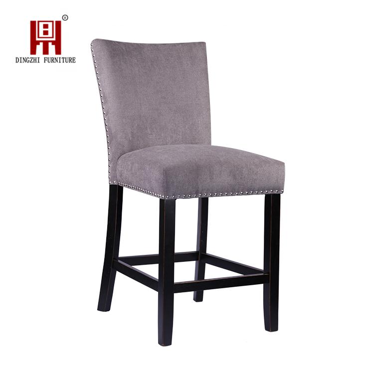 Latest Design Restaurant Velvet in Grey Oak Wood Nail Trim High Legs Bar Chair