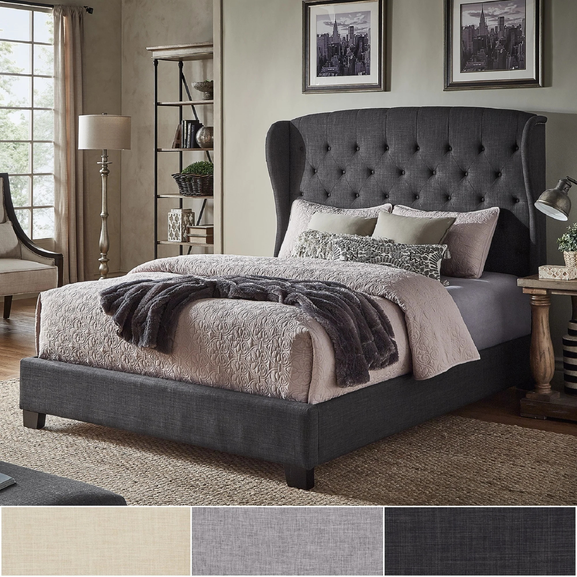 Modern Tufted Linen Fabric French Luxury Bed with Nailhead Trim