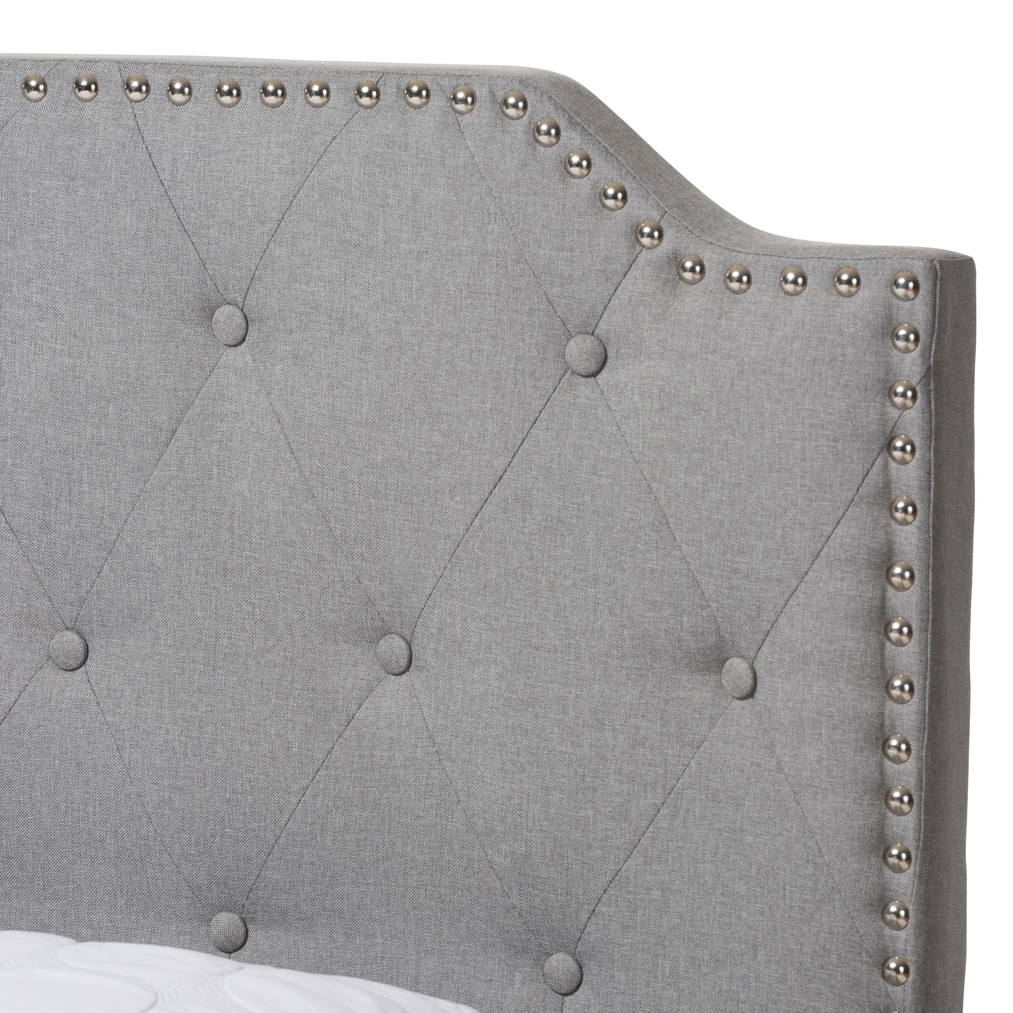 Contemporary Grey Fabric Multifunctional Storage Bed With Tall Headboards