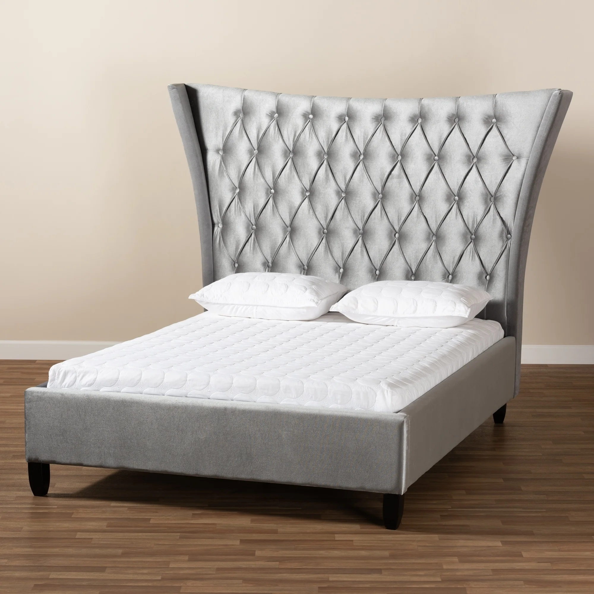 2019 Latest Grey Luxury King Size Upholstery Bed