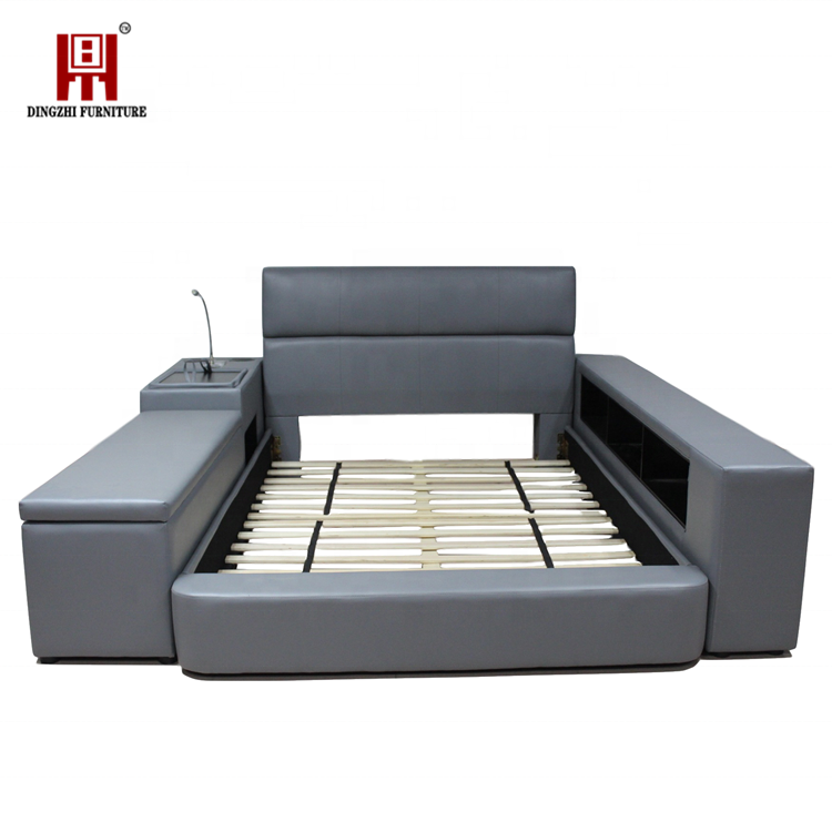 New design Bedroom furniture Multifunctional storage bed with  LED light and stereo white PU leather  bed