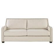 Faizah White Linen Nailhead Sloped Arm Sofa
