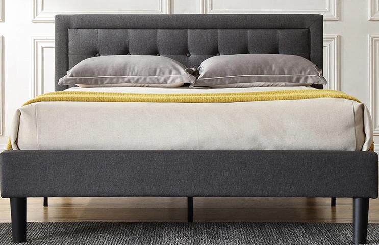 PostureLoft Mornington Upholstered Platform Bed-Metal Frame with Wood Slat Support - Grey - Full