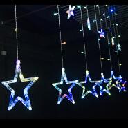 Colorful star lights 2M 138led EU plug curtain string lights stars