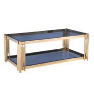 Popular stainless steel tempered glass coffee table