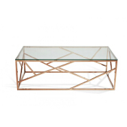 rose gold metal glass coffee table stainless steel coffee table