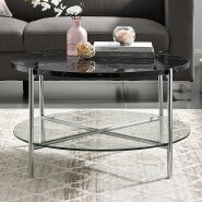 2018 Two layers small round glass coffee table with wheels