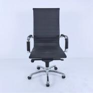 Modern High back Tall Ribbed Pu leather Swivel Tilt Adjustable metal frame executive computer desk