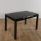 Modern extendable black tempered glass dining table