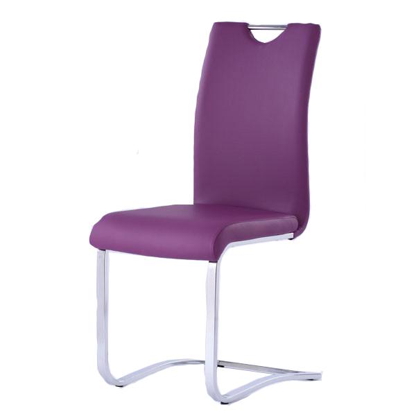 German chrome frame bow leg popular sale black leather z shape dining chairs