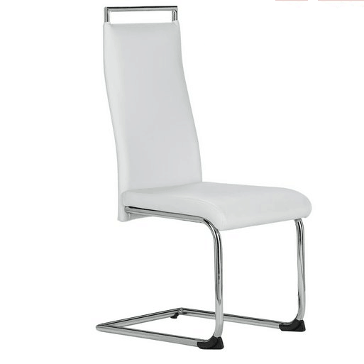 Fashion Design Modern white and black leather high back bow chrome round legs dining chairs