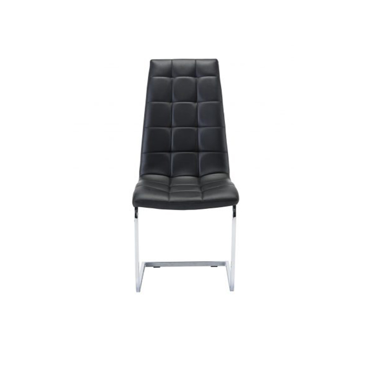 Wholesale Cheap Modern leather Bow chrome square legs Z shape Dining room chairs