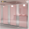 Ladies pink glass material toilet partition