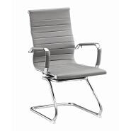 2017 New design Black leather chromed metal frame guest visiting ergonomic desk office chair withou