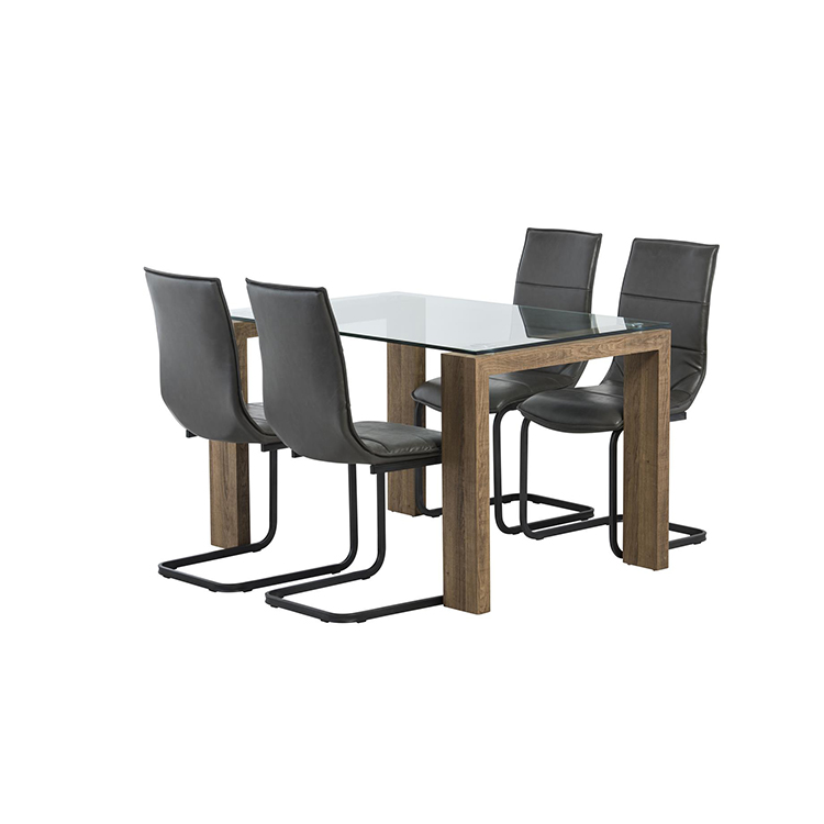 8 seater glass top wood leg dining table set modern