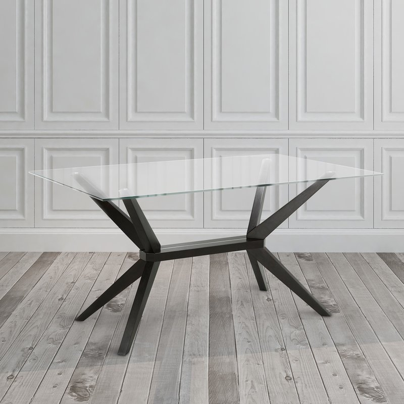 Clear Glass top metal frame legs square dining table