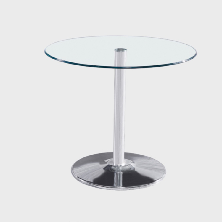 round tempered glass stainless steel dining table with glass
