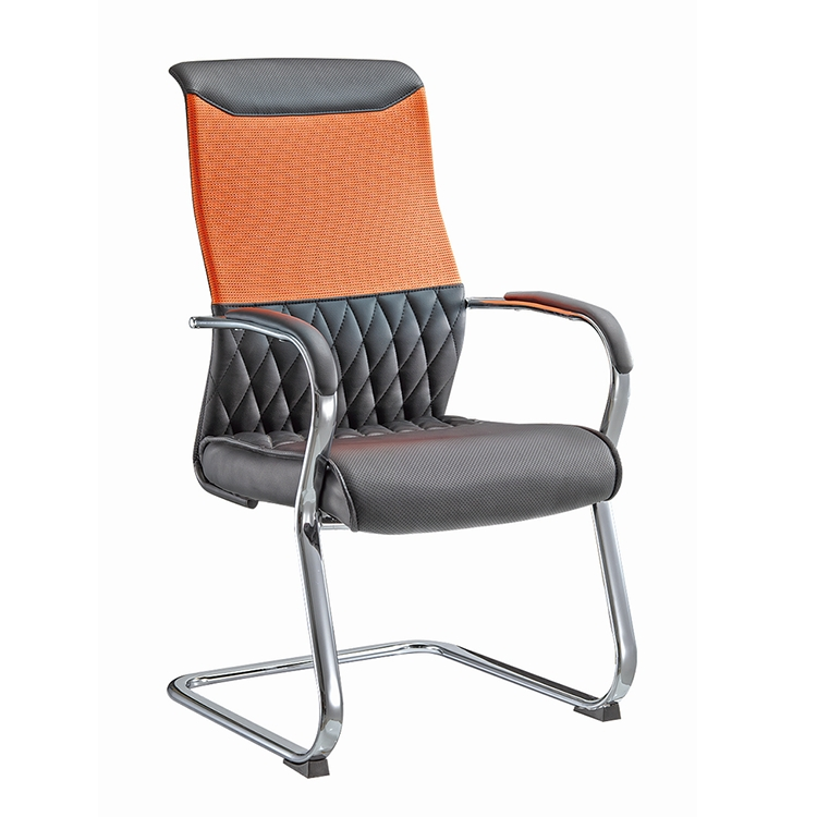 Modern Appearance Middle Backrest Bow Shaped Foot No Adjustable Office Chair With chrome Armrest