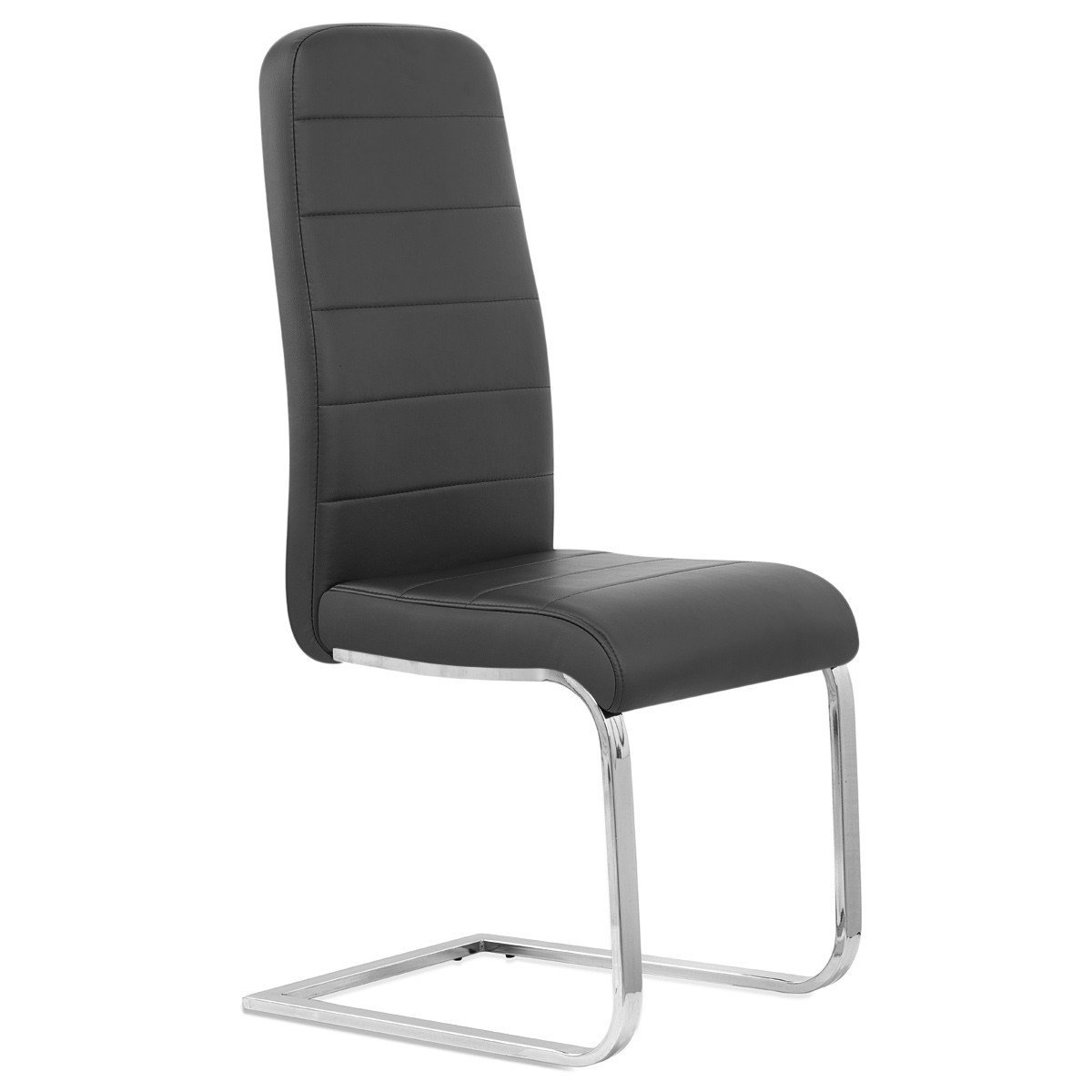 Pu black chair with chrome square tube leg for dining room
