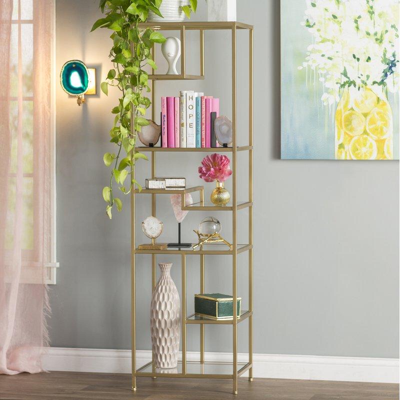 simple glass bedroom bookshelf design