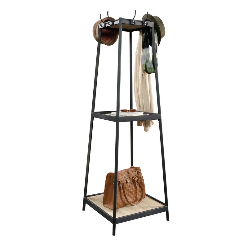 wooden and metal coat rack stand in living room