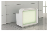 Cloth shop glass reception desk with LED light inside