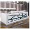 Modern white color tufted reception desk made with tempered glass