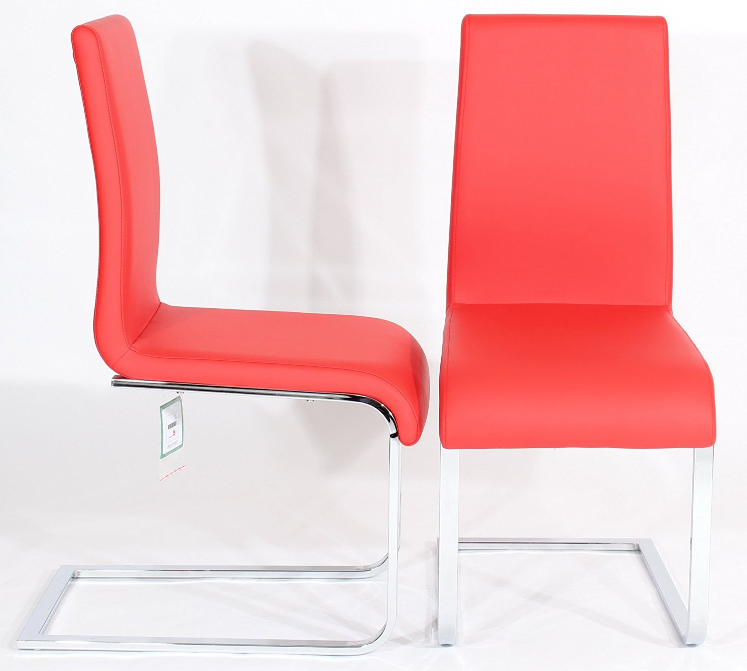 Modern Red leather seat chrome square legs dining room chairs