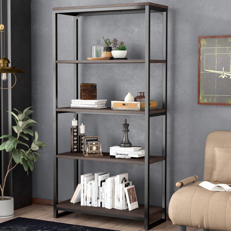 black bookcase bookshelf wall