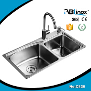 Stainless steel kitchen sink on kitchen wall hanging cabinet or aluminium kitchen cabinet